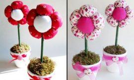 Como Fazer Vaso com Flores de Tecido para Dia das Mães