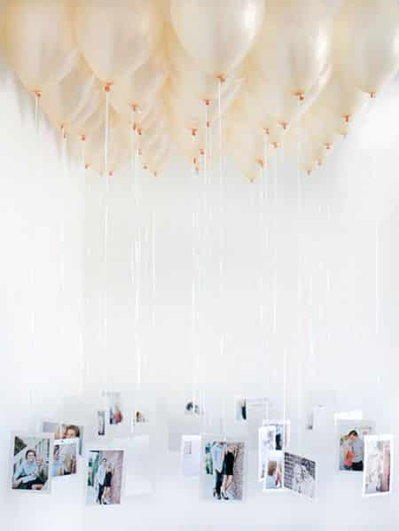 Mural de fotos com balões é diferente e deixa a sua festa mais divertida (Foto: anoivadebotas.com.br)