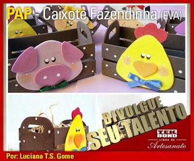 Minicaixote fazendinha de EVA faz muito sucesso com todos (Foto: tekbond.blogspot.com.br)