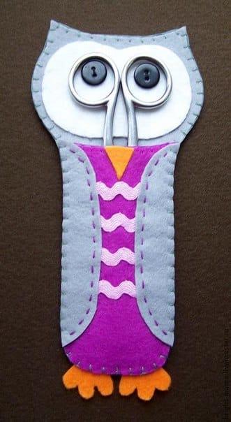 Porta-tesoura coruja em feltro é divertido e útil ao mesmo tempo (Foto: moy-handmade.ru)