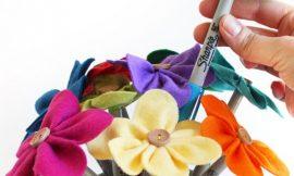 Canetas Decoradas com Flores de Feltro Passo a Passo