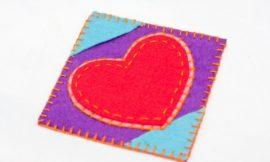 Como Fazer Porta-Copos com Coração de Feltro