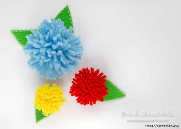 Aposte nesta flor de feltro rápida de fazer para a sua casa ou o seu visual (Foto: marrietta.ru)