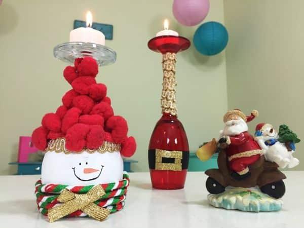 Estes porta-velas de Natal com taças são simpáticos e fazem a alegria de todos (Foto: blog.elo7.com.br)