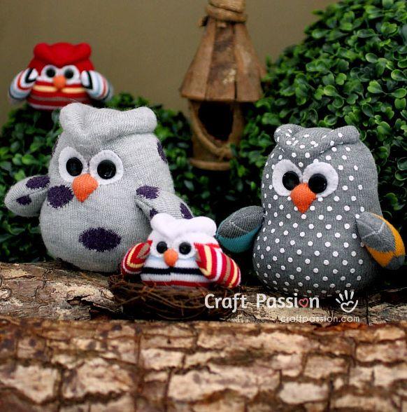 Corujas de meias são fofas e simpáticas (Foto: craftpassion.com)
