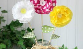 Flores de Papel Crepom Simples e fácil de fazer
