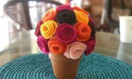 Como Fazer Topiaria com Flores de Feltro
