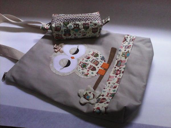bolsa com tecido coruja