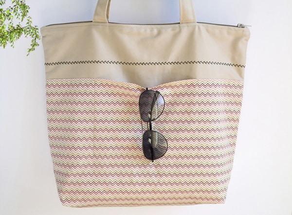 bolsa com tecido e bolso