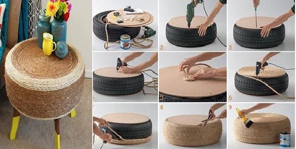 mesa com pneu passo a passo