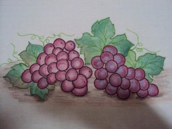 pintura com giz de cera uvas