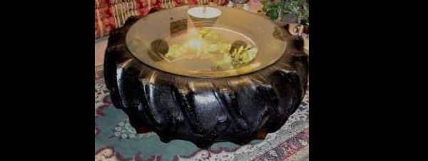 mesa com pneu de trator
