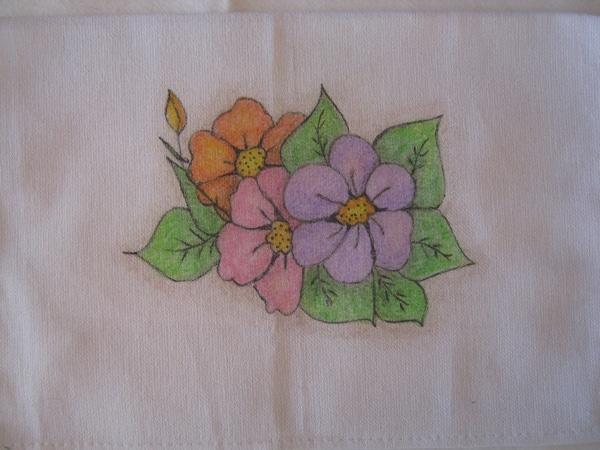 pintura com giz de cera flores