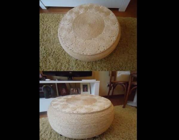 mesa com pneu com sisal