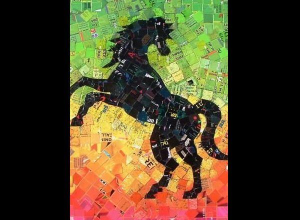mosaico de papel cavalo