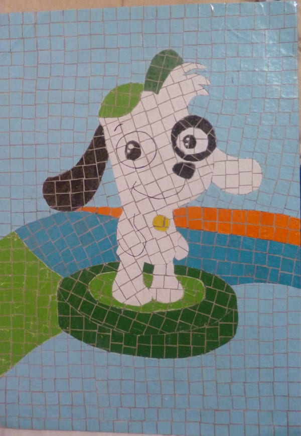 mosaico de papel cachorro
