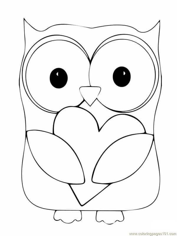 desenho de coruja com coração