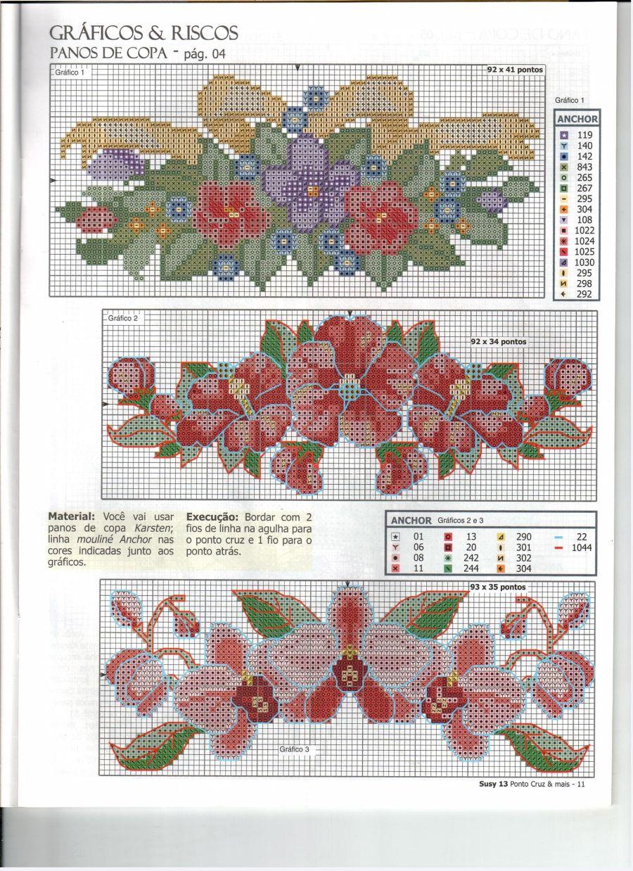 flor de ponto cruz arranjo
