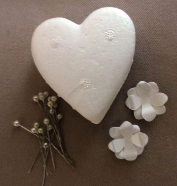 coração de flores isopor