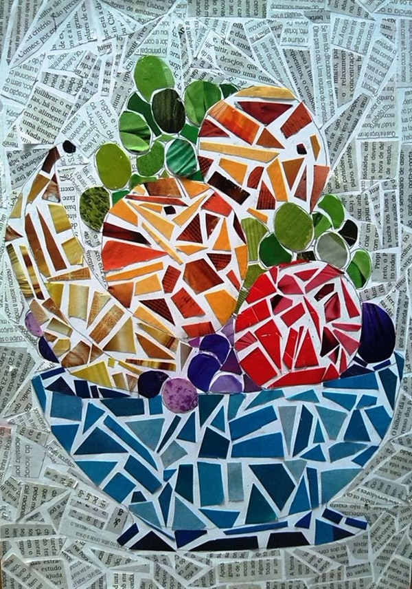 mosaico de papel cesta