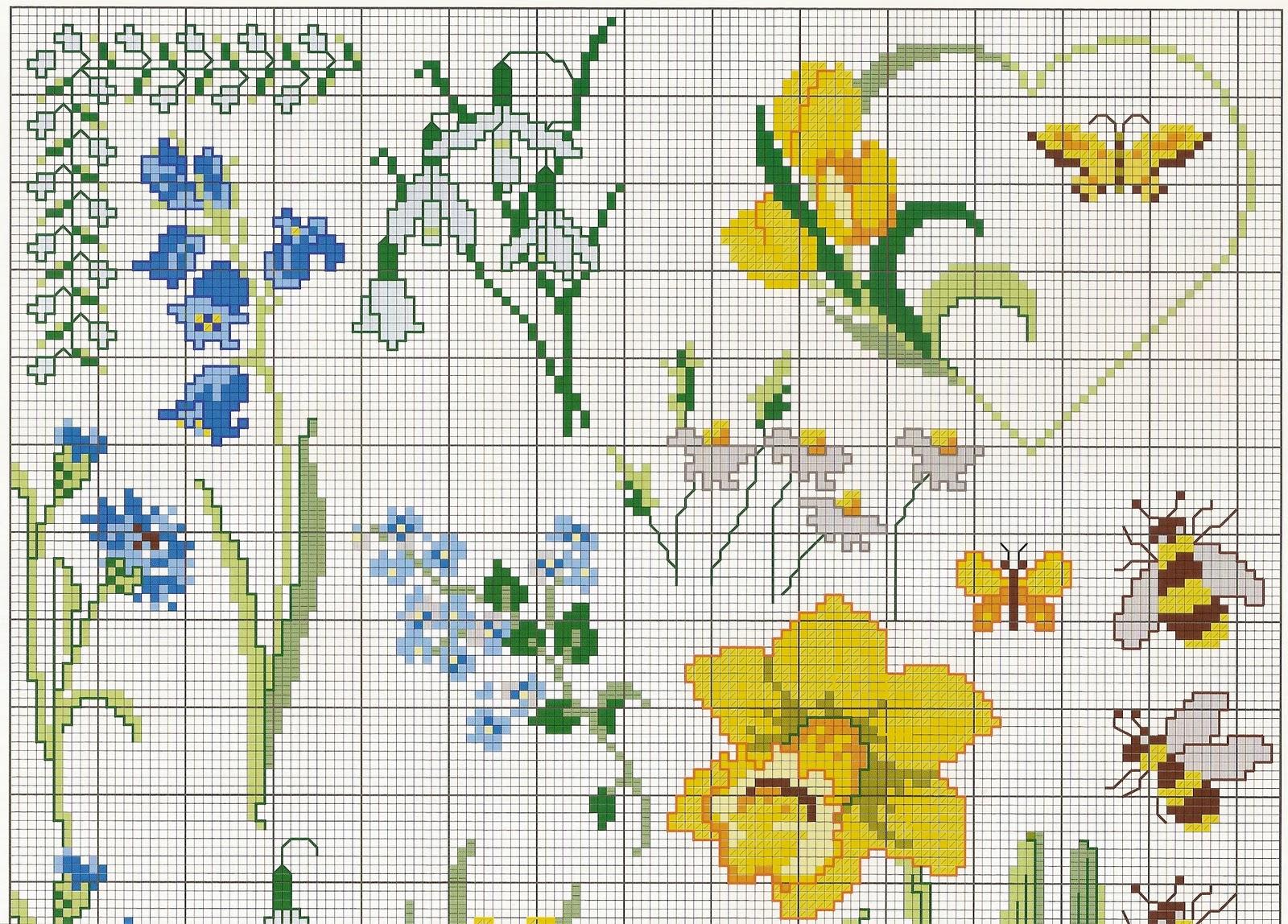 flor de ponto cruz amarelas