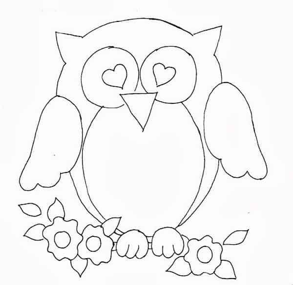 desenho de coruja apaixonada