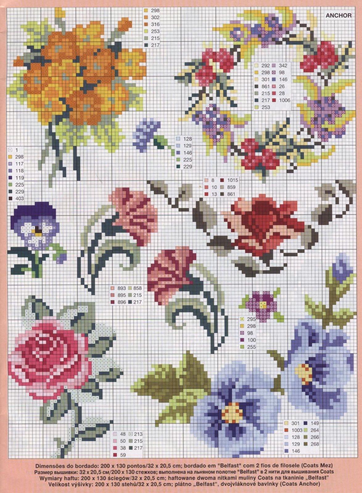 flor de ponto cruz lilás