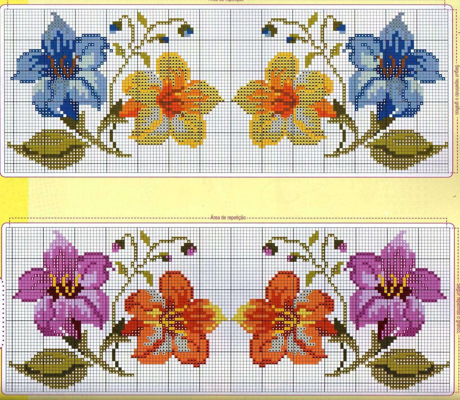 flor de ponto cruz colorida