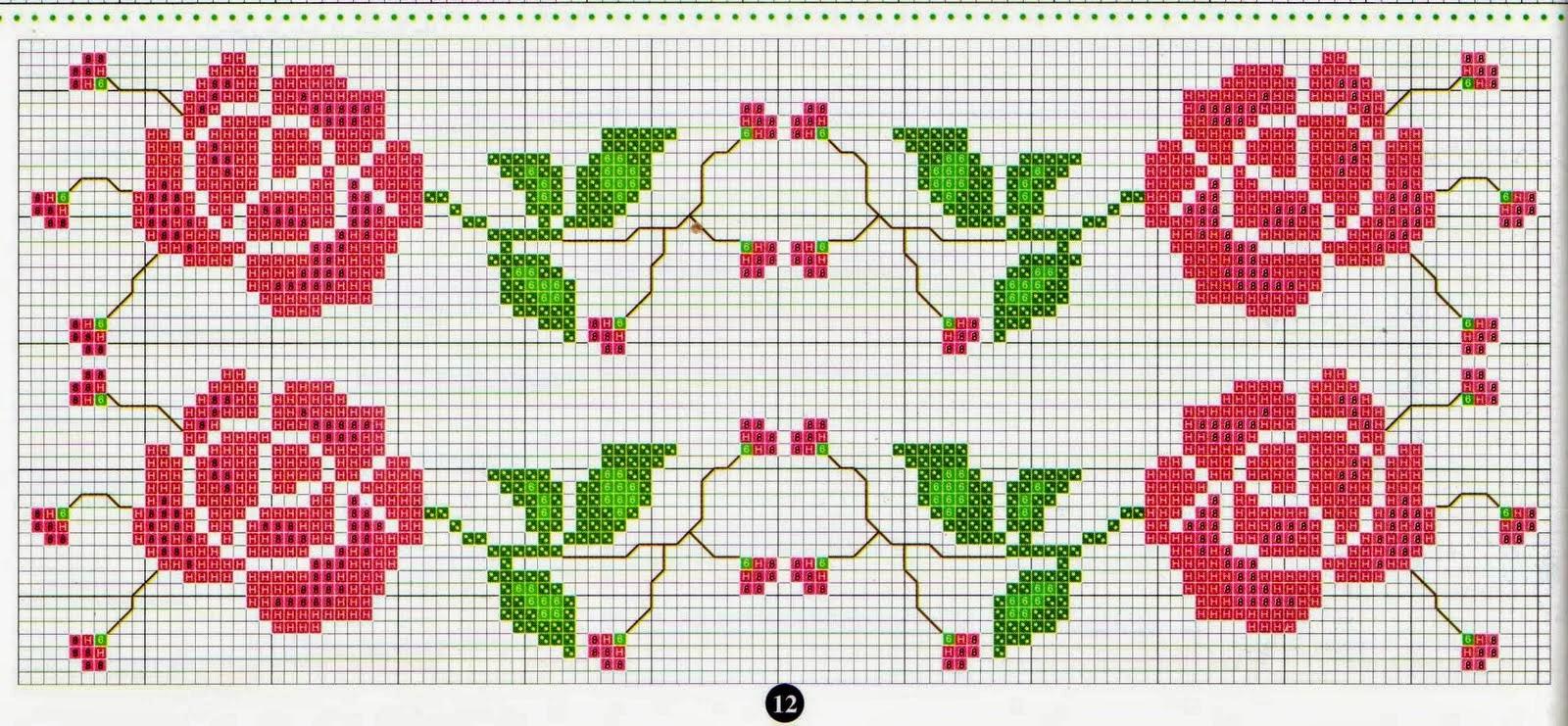 flor de ponto cruz galhos