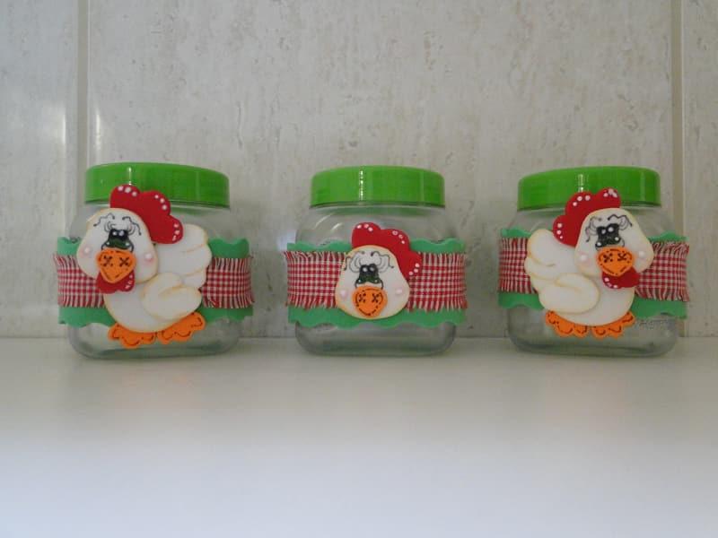 pote decorado galinha