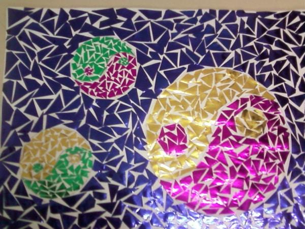 mosaico de papel yin yang