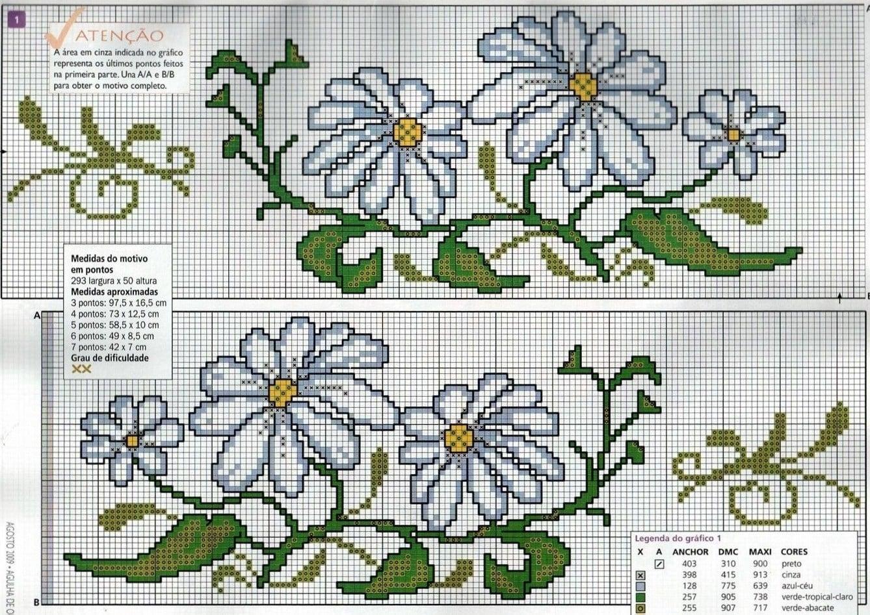 flor de ponto cruz margarida