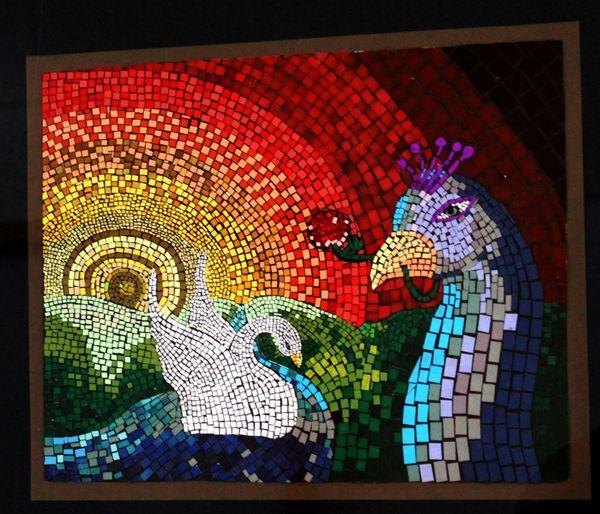 mosaico de papel pavão