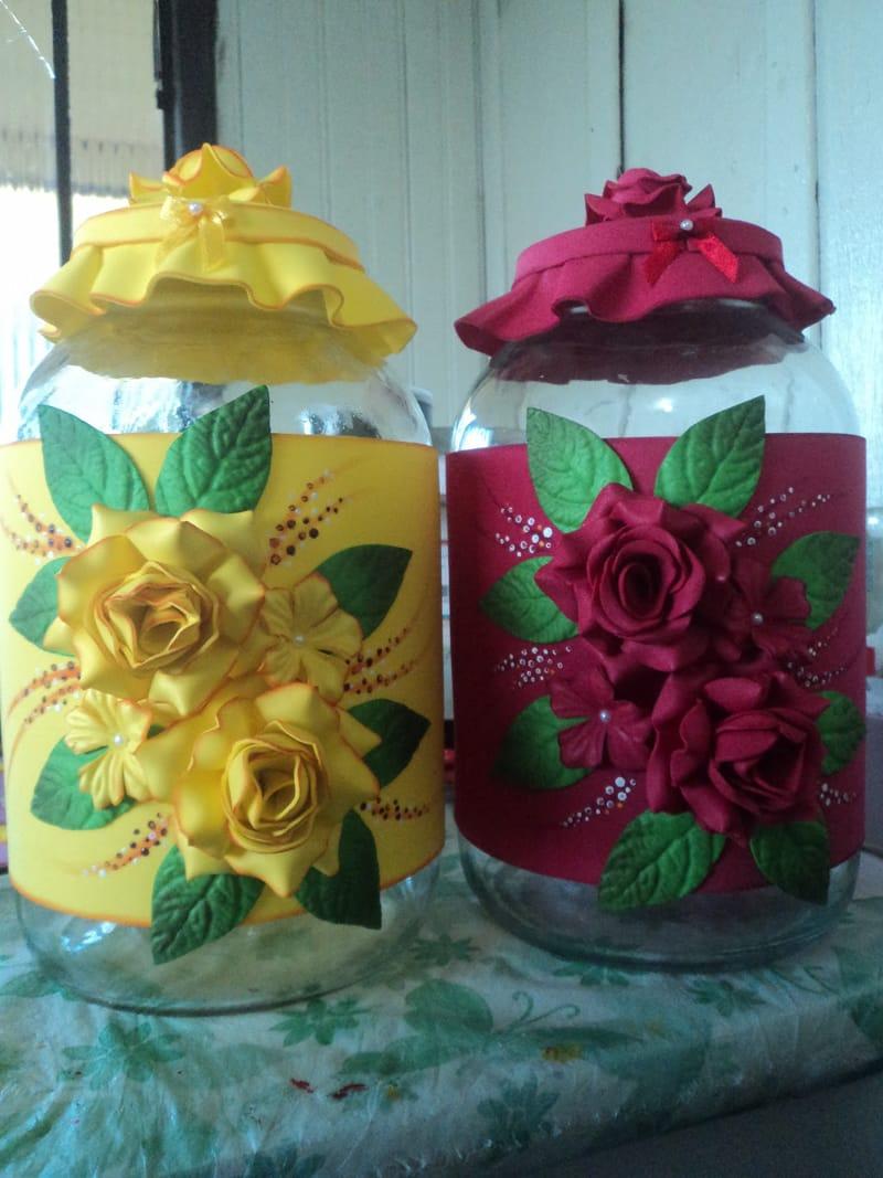 pote decorado rosas