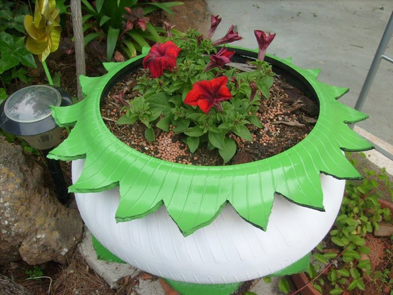 vaso de pneu flor