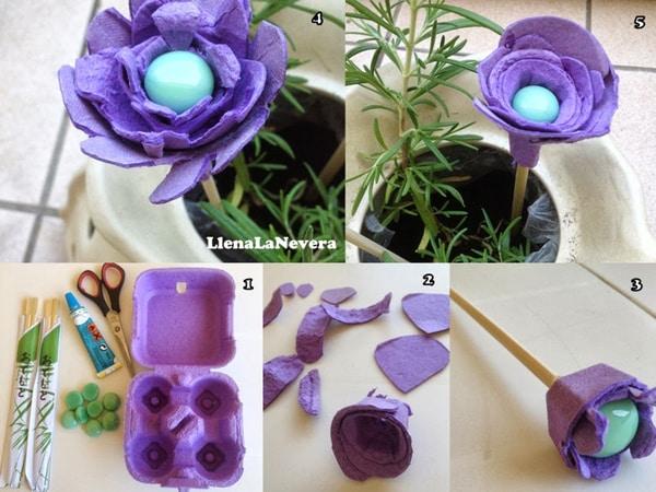 flores de caixa de ovo lilas