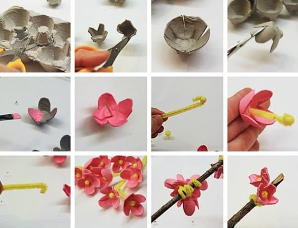 flores de caixa de ovo lindas