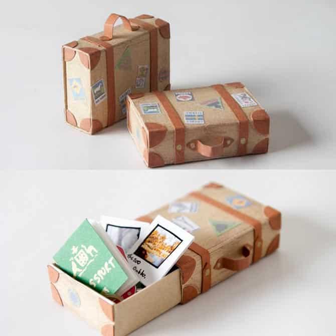 reciclagem com caixa de fósforos mala