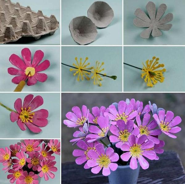 flores de caixa de ovo com caule