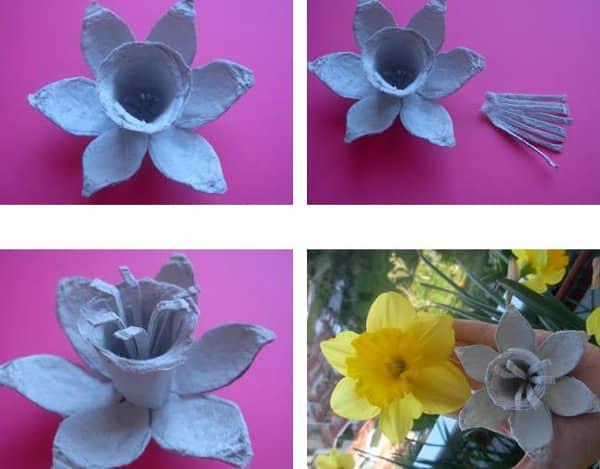 flores de caixa de ovo camadas