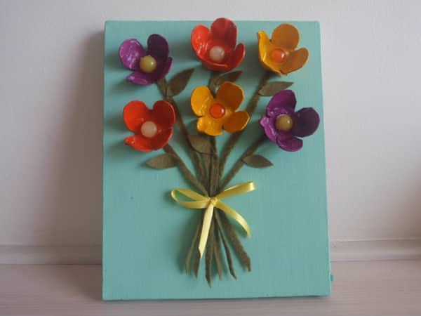 flores de caixa de ovo quadro