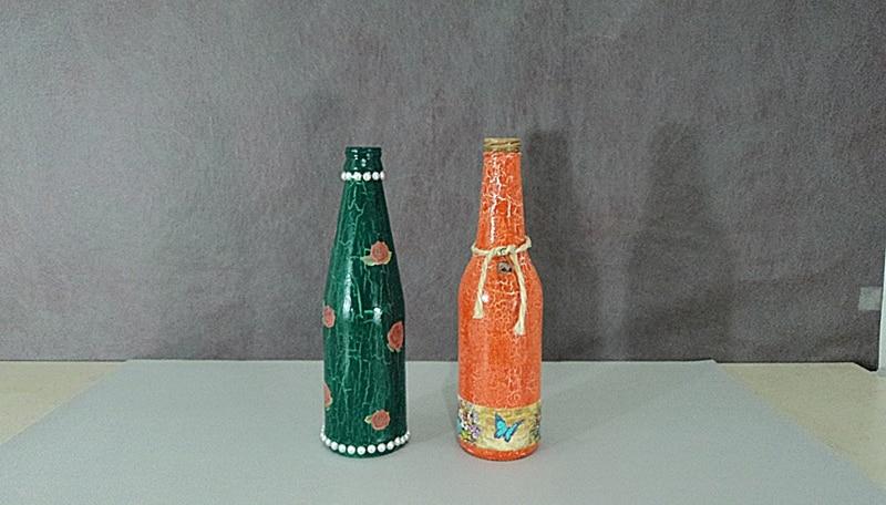 garrafa decorada craquele