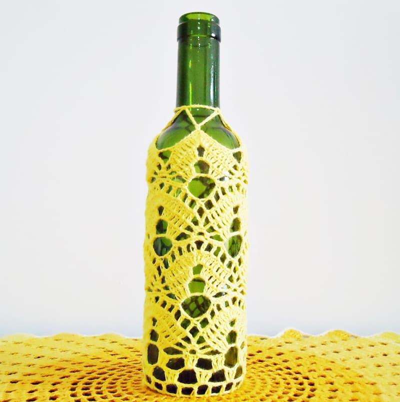 garrafa decorada croche