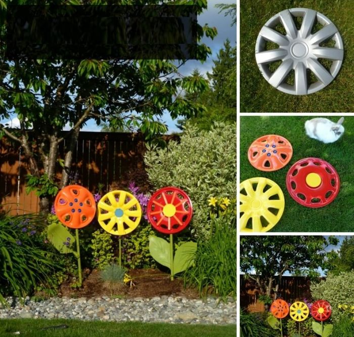 flores recicladas de calota
