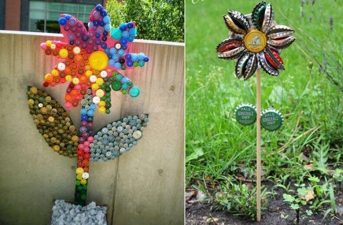flores recicladas de tampas de garrafas