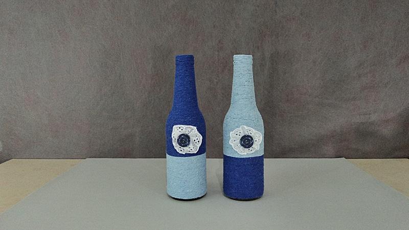 garrafa decorada azul