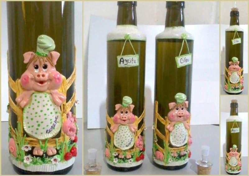 garrafa decorada porco