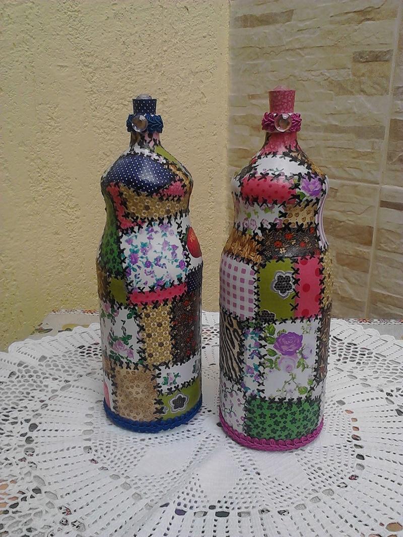 garrafa com retalhos