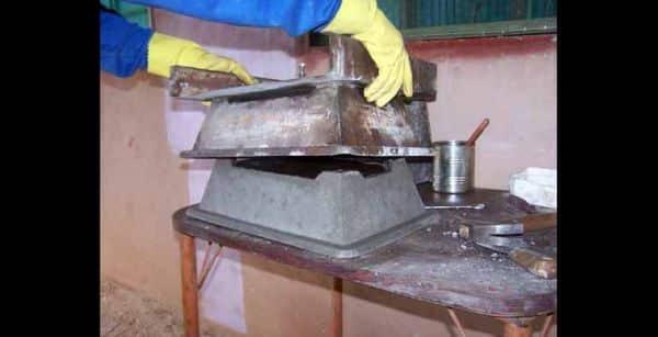 vaso de cimento forma
