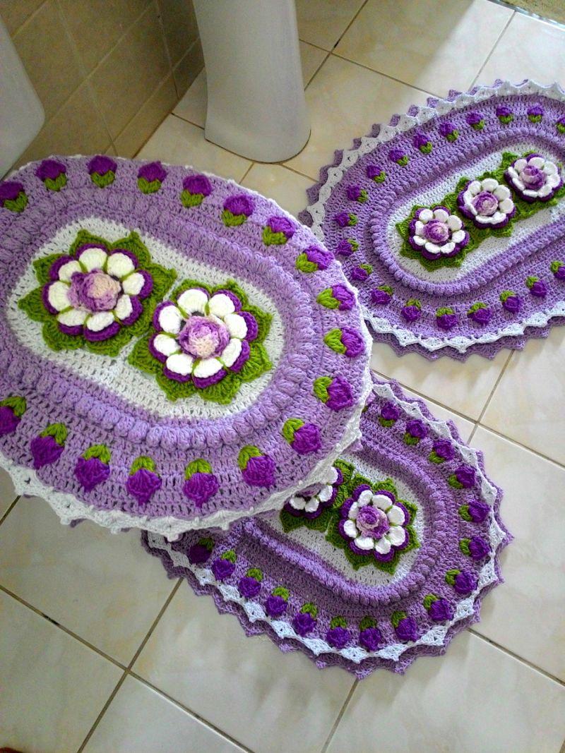 jogo de banheiro de croche lilas